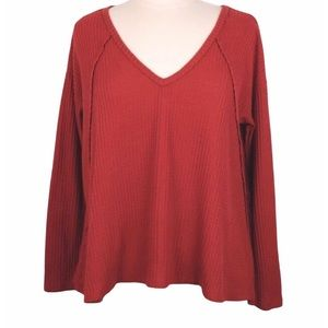 Forever 21 Red Waffle Knit Top V-Neck Size…